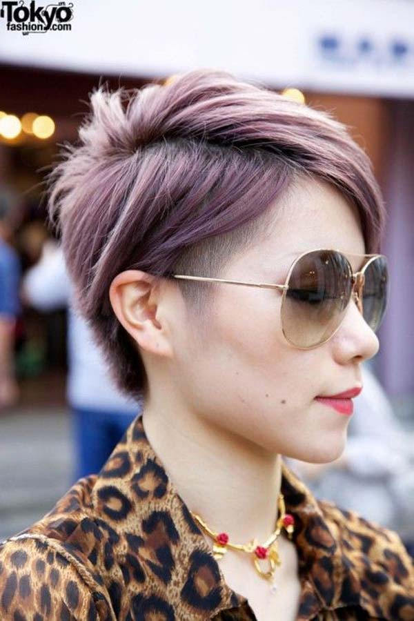 dark purple pixie cut