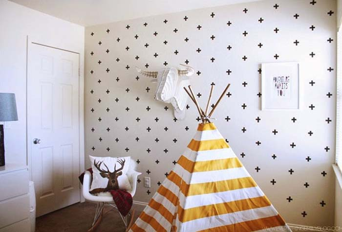 washi tape accent wall diy