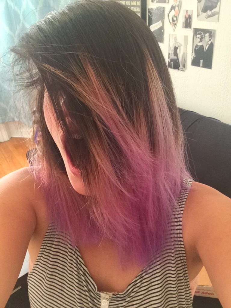 bleaching asian hair purple ombre