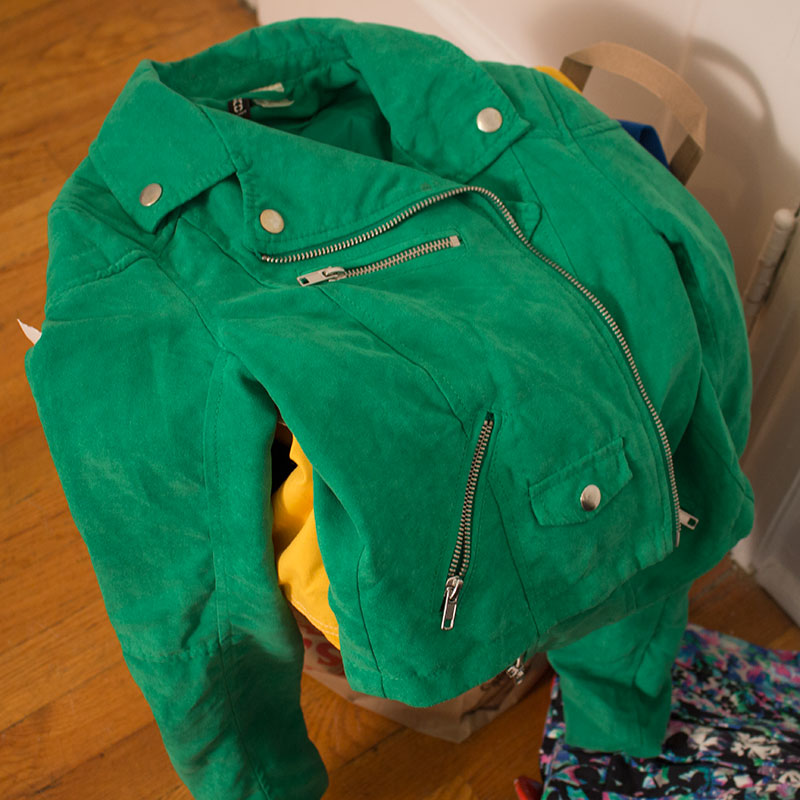 af19194b3 I bought this H&M faux-suede green moto jacket at a thrift store after a  particularly boozy brunch. I can hardly get it onto my body, let alone wear  it all ...